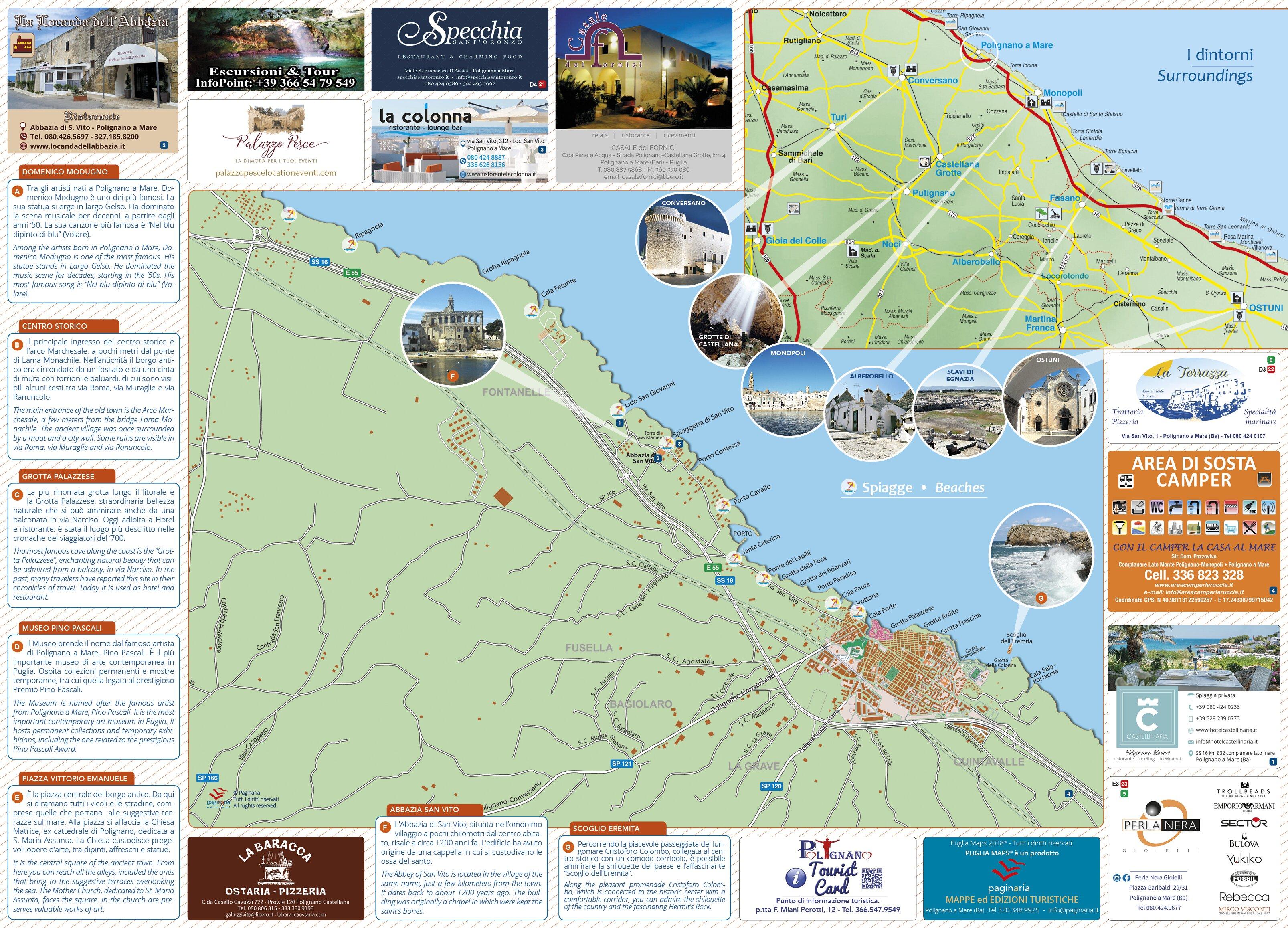 Cartina Mappa Spiagge Puglia.Mappa Di Polignano A Mare Cosa Vedere A Polignano A Mare Vacanze A Polignano A Mare